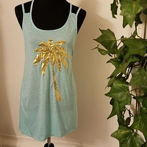 Miken swim cover up sz small hi low sparkling tree